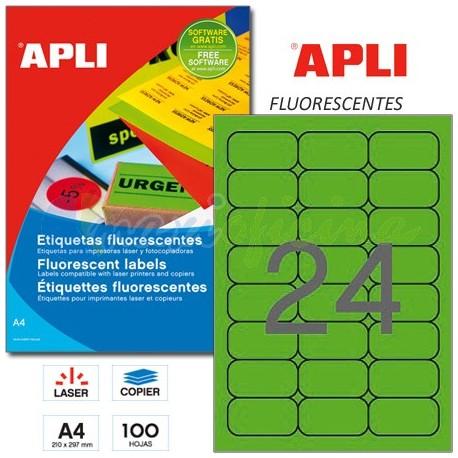 Etiquetas Adhesivas Apli Verde Fluorescente 64x33,9 mm. 100h