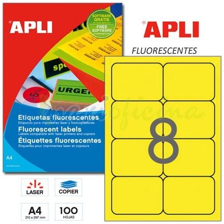 Etiquetas Adhesivas Apli Amarillo Fluorescente 99,1x67,7 mm. 100h