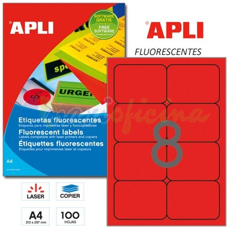 Etiquetas Adhesivas Apli Rojo Fluorescente 99,1x67,7 mm. 100h