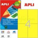 Etiquetas Adhesivas Apli Amarillo 105x148 mm. 20h