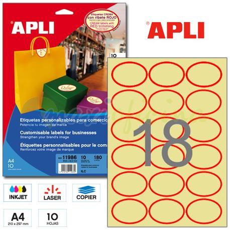 Etiquetas Adhesivas Apli ovaladas crema con ribete rojo 20h