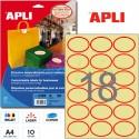 Etiquetas Adhesivas Apli ovaladas crema con borde rojo 10h