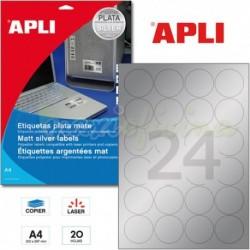 Etiquetas Adhesivas Metalizadas Apli Redondas PLATA 40mm 20h