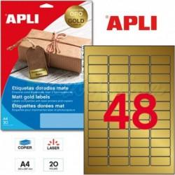 Etiquetas Adhesivas Metalizadas Apli ORO 45,7x21,2mm 20h