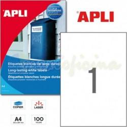 Etiquetas Adhesivas Poliester Blanco Apli 210X 297mm 100h