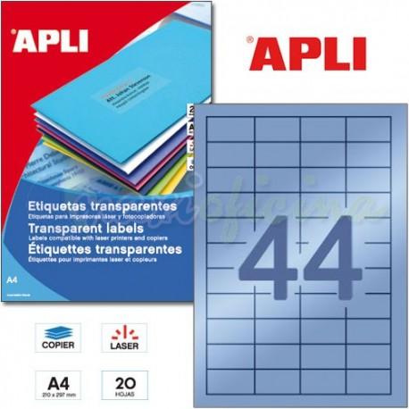 Etiquetas Adhesivas Poliester Transparentes Apli 48,5x25,4 mm 20h