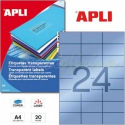 Etiquetas Adhesivas Poliester Transparentes Apli 70x37 mm 20h
