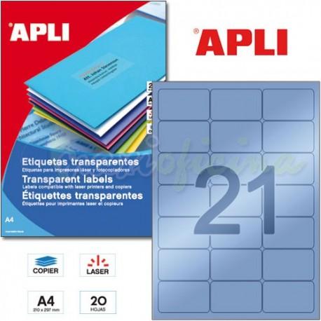 Etiquetas Adhesivas Poliester Transparentes Apli 63,5x38,1 mm 20h