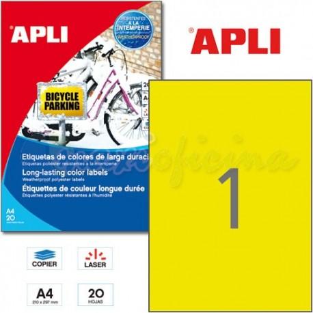Etiquetas Adhesivas Poliester Amarillo Apli 210x297 mm 20h