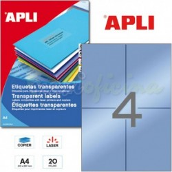 Etiquetas Adhesivas Poliester Transparentes Apli 105x148mm 20h
