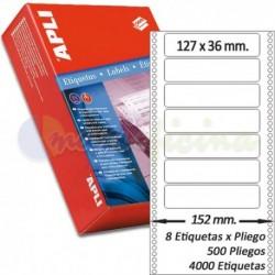 Etiquetas Adhesivas Papel Continuo Apli 127,0x36mm.