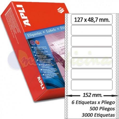 Etiquetas Adhesivas Papel Continuo Apli 127,0x48,7mm.