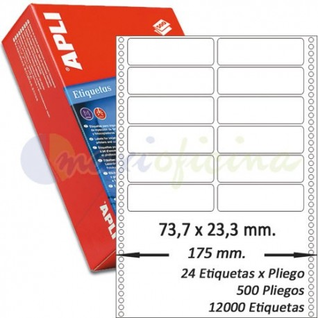 Etiquetas Adhesivas Papel Continuo Apli 88,9x23,3mm.