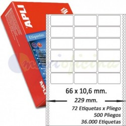 Etiquetas Adhesivas Papel Continuo Apli 66x10,6mm.