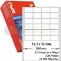 Etiquetas Adhesivas Papel Continuo Apli 81,3x36mm.
