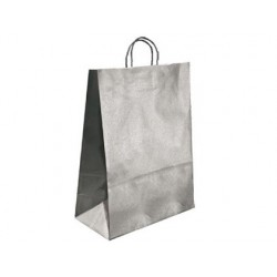 BOLSA KRAFT Q-CONNECT PLATA ASA RETORCIDA 270X120X360 mm 25