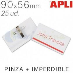 Identificador Personal Apli 90 x 56mm. Pinza e imperdible. 25 ud.