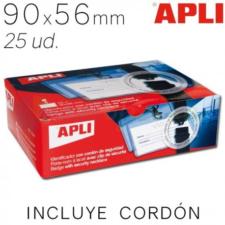 Identificador Personal con cordón Apli 90 x 56mm. 25 ud.