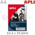 Etiquetas Adhesivas de Identificación Personal Apli 63,5 x 29,6 mm.