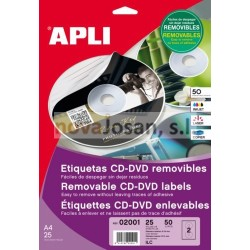 Bolsa Etiquetas Apli Blancas Removible CD-ROM 114 25 hojas