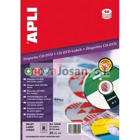Bolsa Etiquetas Apli Blancas OPACA CD-ROM 25 hojas