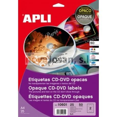 Bolsa Etiquetas Apli CD OPACAS 25 hojas