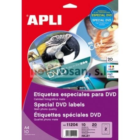 Bolsa INK Etiqueta Apli DVD 117MM. PEtiquetado 10 hojas