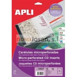 Bolsa Apli CARATULA CD MICROPERFO 10 hojas