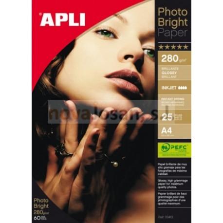 Bolsa Apli PAPEL INK PHOTO Brillo Apli 280g. PEFC 25 hojas