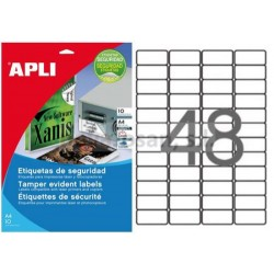 Etiquetas Adhesivas Poliester Blanco Apli Laser SEGURIDAD 45,7x21,2mm 10h