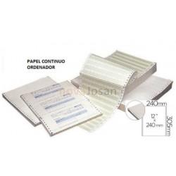 Papel continuo para Ordenador Blanco Original y Copia 240mm. x 12 pug.