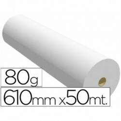 Papel reprografia para plotter 610mmx50mt 80gr impresion ink-jet. 1 BOBINA