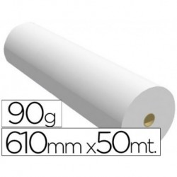 Papel reprografia para plotter 610mmx50mt 90gr impresion ink-jet. 2 Bobinas.