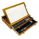 Estuche-cofre de pintura stetro de madera con 100 piezas.