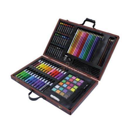 Estuche de pintura lidercolor madera 106 piezas maletin.