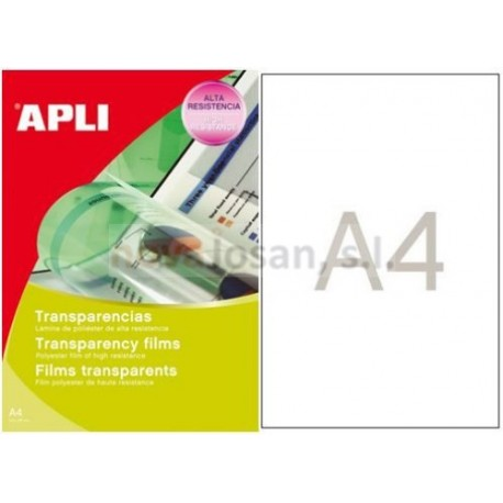 Caja Apli transparencias escritura manual pvc 100 hojas.