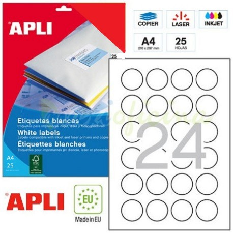 Etiquetas Adhesivas Apli 40mm. Ref.13883
