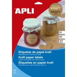 Etiquetas Adhesivas de Papel Kraft 210x297 mm Apli
