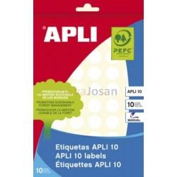 BOLSA 10 Hojas Etiquetas Blancas Diámetro 13 mm