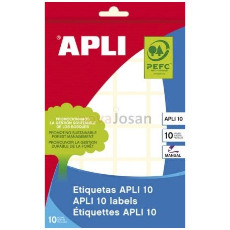 BOLSA 10 Hojas Etiquetas BLANCAS 24X 24 mm