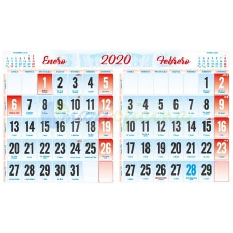 Faldillas para Calendarios 2020 235x148 mm. BIMENSUAL Pack 100u.