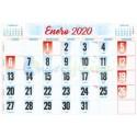 Faldillas para Calendarios 2020 485x340 mm. Pack 100u. Mensual C/NOTAS