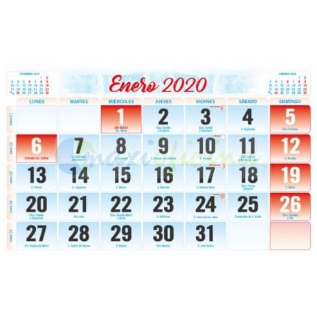 Faldillas para Calendarios 2020 150X100 mm. Pack 100u. Mensual