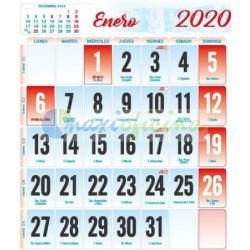 Faldillas para Calendarios 2020 100X100 mm. Pack 100u. Mensual S/N