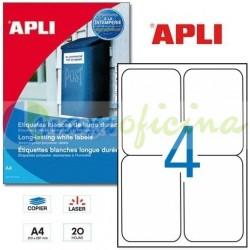 Etiquetas Adhesivas Blancas Poliéster 99.1 x 139 mm Cantos Romos 20h