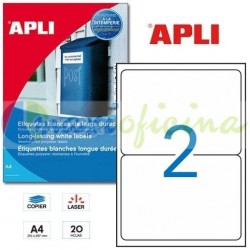 Etiquetas Adhesivas Blancas Poliéster 199.6 x 143.5 mm Cantos Romos 20h