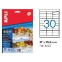 Etiqueta Cartulina Microperforada Apli ESTANTERIA 67x25,4mm 10h