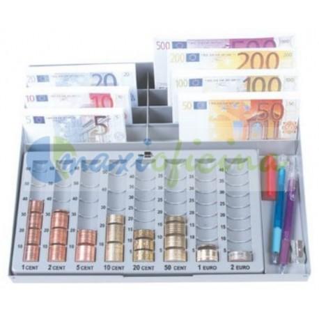Bandeja portamonedas y billetes €uro Metálico